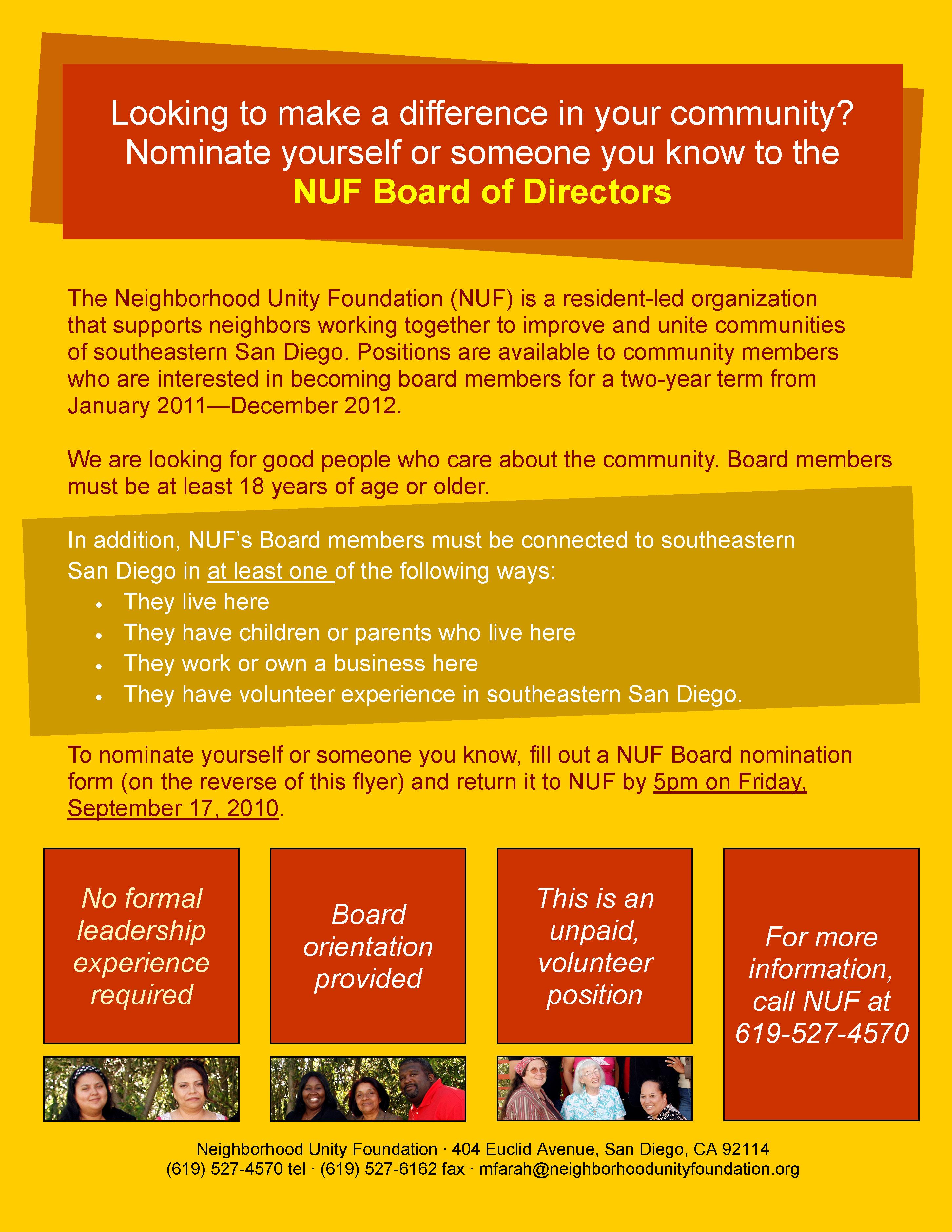 NUF Board Nominations Flyer 2010