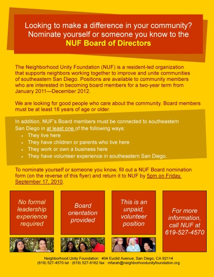 NUF Board Nominations Flyer 2010
