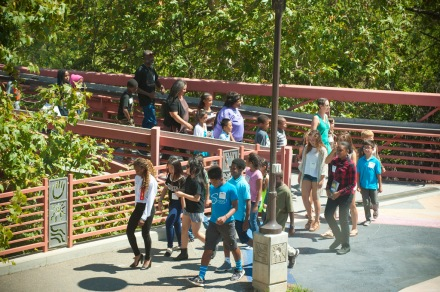 Local students performed a symbolic march across the Chollas Creek Bridge from the Market Creek Plaza Amphitheater to the Jacobs Center.
