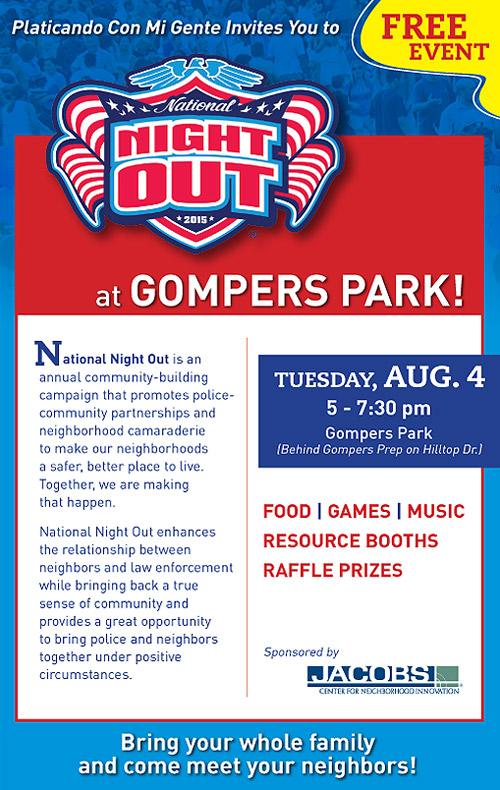 National Night Out At Gompers Park Whats New In The Diamond
